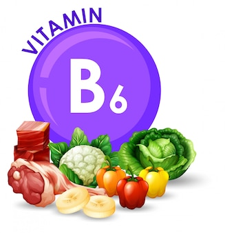 Variedade de diferentes alimentos com vitamina b6