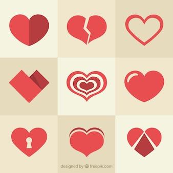Variedade de diferentes corações