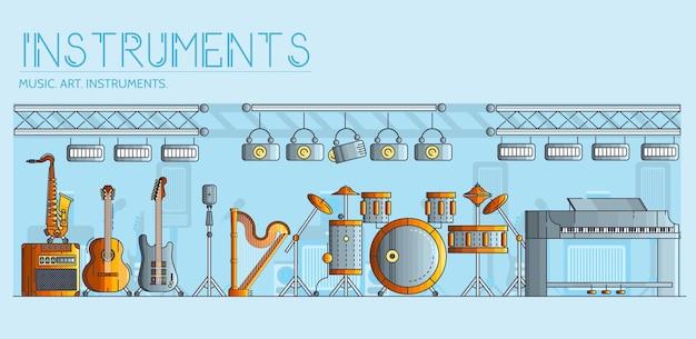 Variedade de diferentes instrumentos musicais e equipamentos de reprodução.