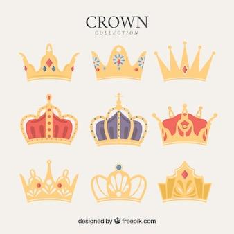 Variedade de diferentes tipos de coroas de luxo