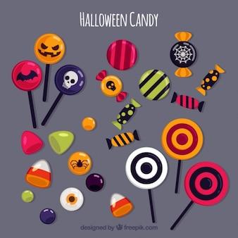 Variedade de doces de halloween