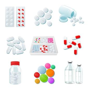 Variedade de drogas e pílulas, ampla gama