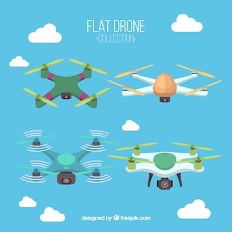 Variedade de drones coloridos