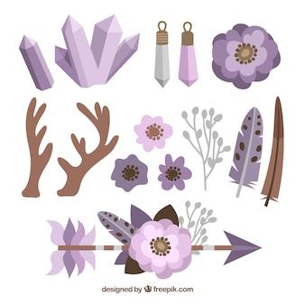 Variedade de elementos boho planas