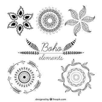 Variedade de elementos boho