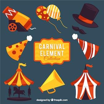 Variedade de elementos coloridos de carnaval