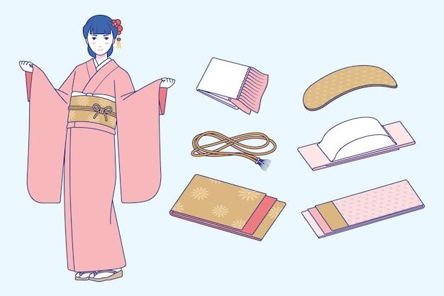 Variedade de elementos de banda obi desenhados à mão