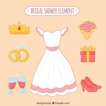Variedade de elementos de casamento desenhados à mão