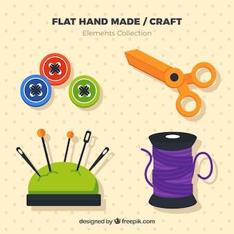 Variedade de elementos de costura