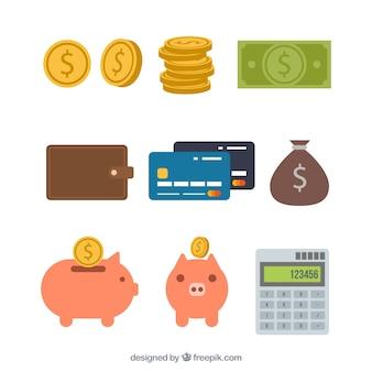 Variedade de elementos de dinheiro no design plano