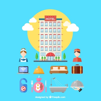 Variedade de elementos de hotéis