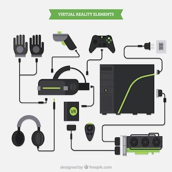 Variedade de elementos de realidade virtual em design plano