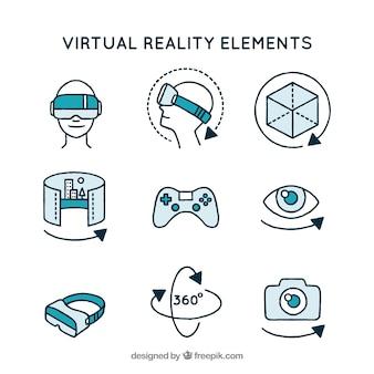 Variedade de elementos de realidade virtual