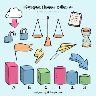 Variedade de elementos desenhados à mão para infográficos