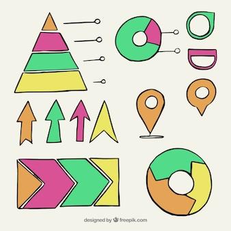 Variedade de elementos desenhados à mão úteis para infográficos