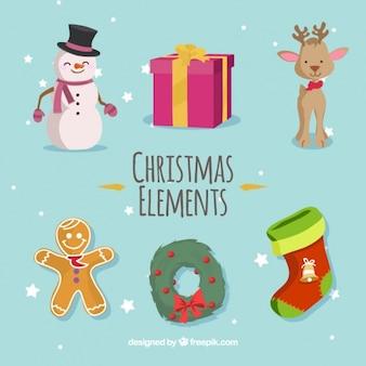 Variedade de elementos do natal em design plano