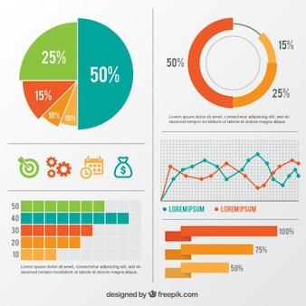 Variedade de elementos infográfico coloridos