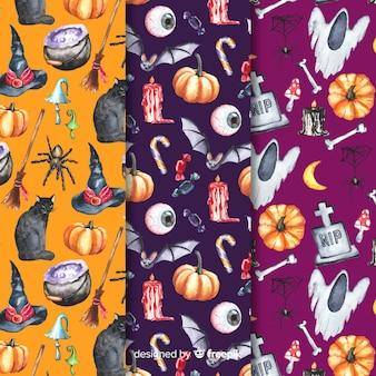 Variedade de elementos para a coleção de padrão de halloween