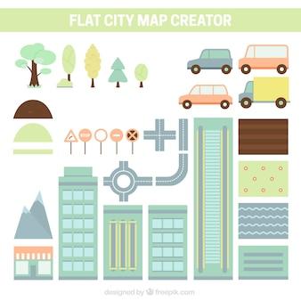 Variedade de elementos para criar uma cidade