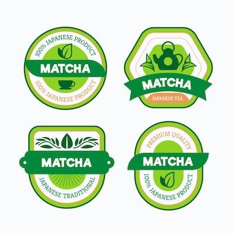 Variedade de emblemas de chá matcha