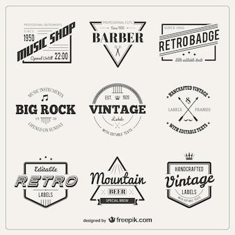 Variedade de emblemas do vintage