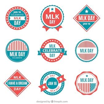 Variedade de emblemas planos para o dia de martin luther king