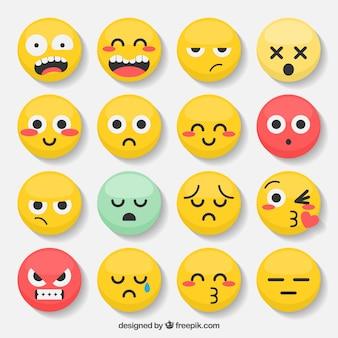 Variedade de emoticons com rostos expressivos