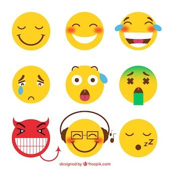 Variedade de emoticons engraçados no design plano