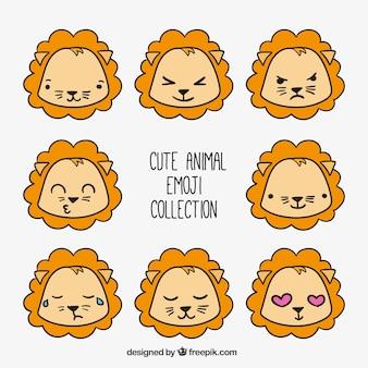 Variedade de emoticons leão desenhados à mão