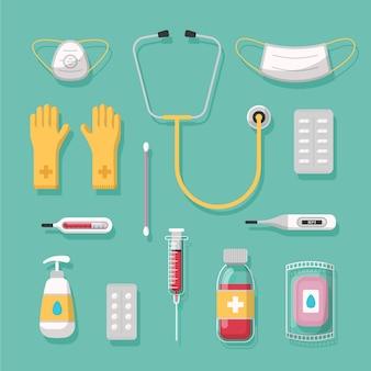 Variedade de equipamentos de proteção contra vírus