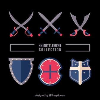Variedade de espadas e escudos medievais