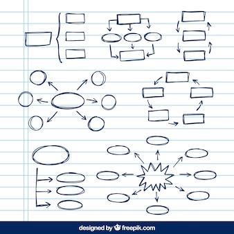 Variedade de esquemas desenhados à mão