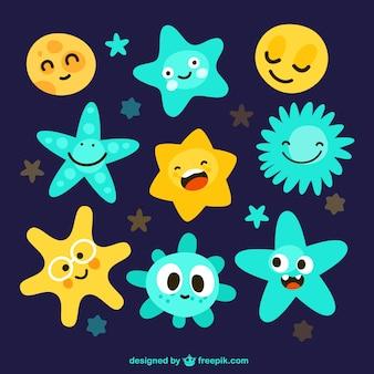 Variedade de estrelas bonitos