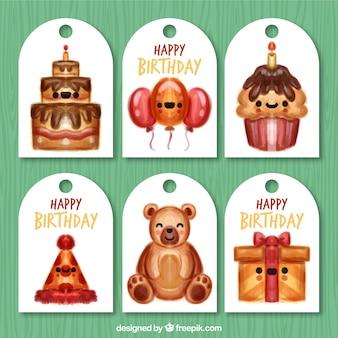Variedade de etiquetas aniversário fantástica aquarela