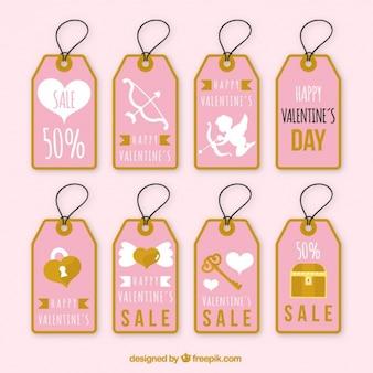 Variedade de etiquetas cor de rosa com detalhes dourados para dia dos namorados