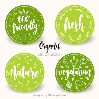 Variedade de etiquetas de alimentos orgânicos circulares