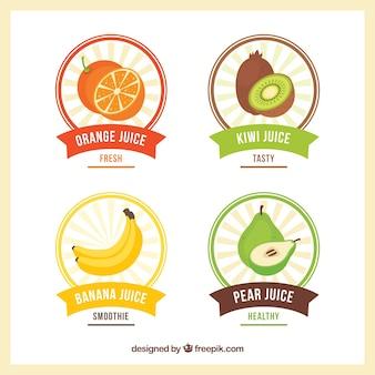 Variedade de etiquetas de frutas redondas em design plano