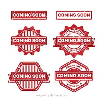 Variedade de etiquetas de promoção vermelha