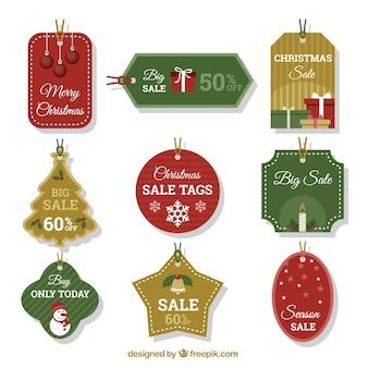 Variedade de etiquetas decorativas de natal com grandes descontos