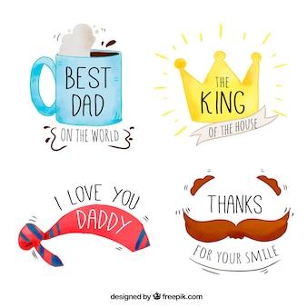 Variedade de etiquetas decorativas do dia de pai no estilo da aguarela