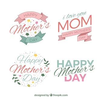 Variedade de etiquetas do dia das mães decorativo