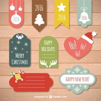 Variedade de etiquetas do natal