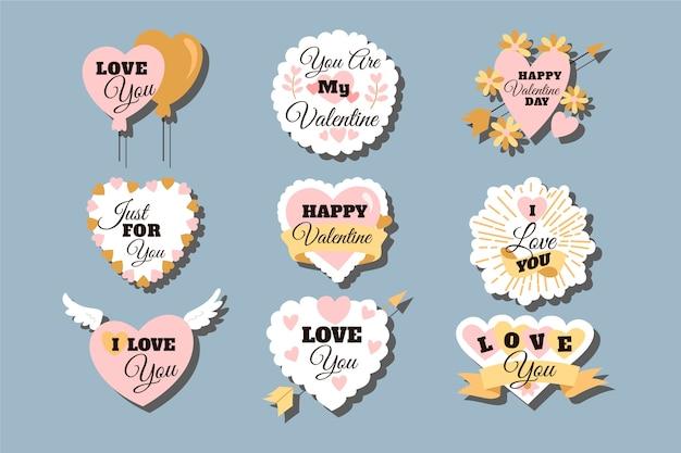 Variedade de etiquetas / emblemas para o dia dos namorados