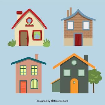 Variedade de fachadas de casas