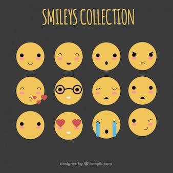 Variedade de fantástica emojis plana