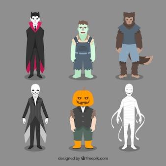 Variedade de figurinos de halloween