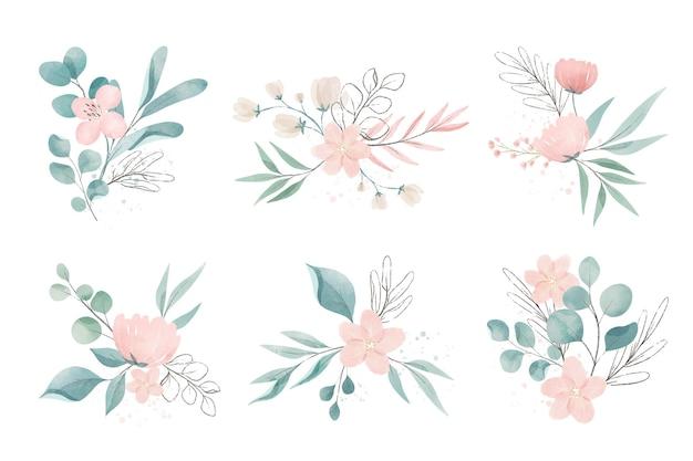 Variedade de flores e folhas em aquarela