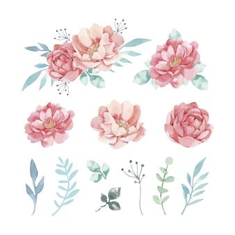 Variedade de flores em aquarela decorativas e folhas