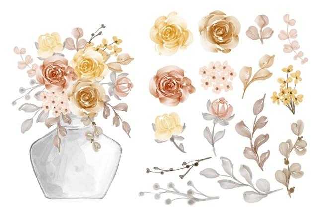 Variedade de folhas e flores em aquarela, outono outono