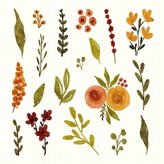 Variedade de folhas e flores em aquarela